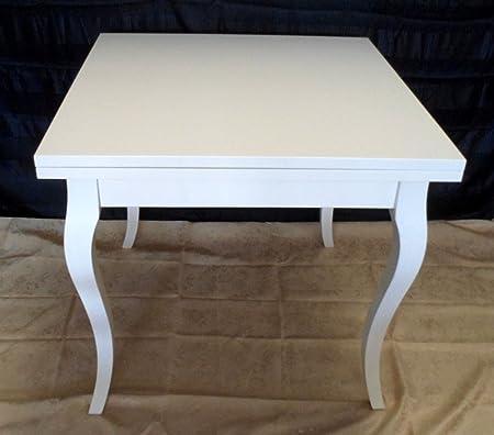 Tavolo Quadrato Allungabile Bianco.Legno Design Tavolo Quadrato Allungabile Bianco Laccato Amazon It