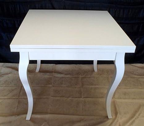 Tavolo Laccato Bianco Allungabile.Legno Design Tavolo Quadrato Allungabile Bianco Laccato