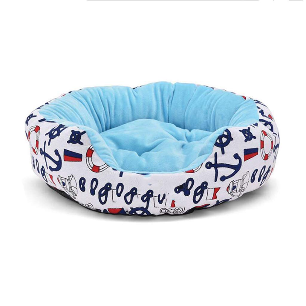 bluee 01 L bluee 01 L PLDDY pet Bed Printed Canvas Velvet Fashion Warm Four Seasons Pet Mat, Cat Litter, Kennel (color   bluee 01, Size   L)