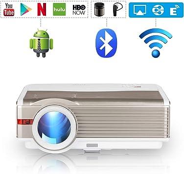 LCD Inalámbrico Android Proyector con WiFi, 5000 Lúmenes Soporte ...