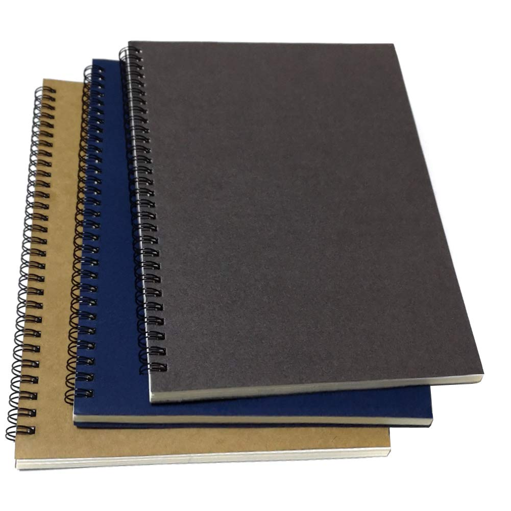 B5 Spiral Notebook/Spiral Journal, Elastic Cover Spiral Ruled Notebook with Lined Pages, 3 Notebooks Per Pack/Total 180 Sheets (360 Pages), 10.5'' x 7.5'', Gray/Blue/Brown