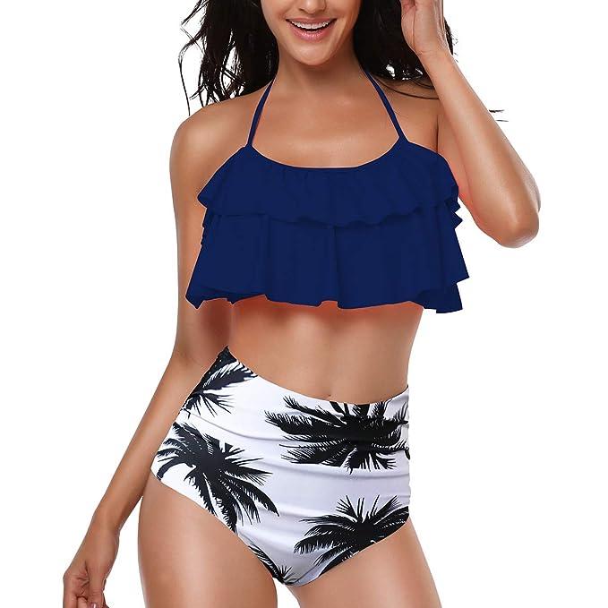 RUICHUANGS Traje de baño de Mujer Cintura Alta Bikini Set ...