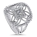 (US) BERRICLE Rhodium Plated Sterling Silver Cubic Zirconia CZ Flower Art Deco Cocktail Ring Size 8