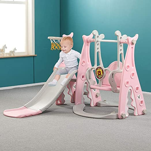 4 in 1 Kids Slide and Swing Set with Music – Toddler Indoor and Outdoor Climber Swing Combination Playground Active Center Multifunctional Toys for Boys Girls 3-in1 Slide Swing Set
