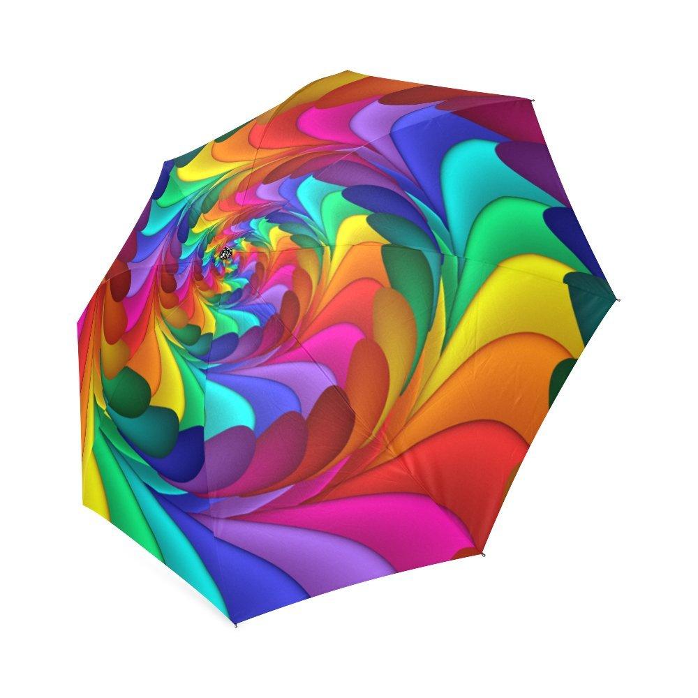 Artsadd Custom Rain Anti UV Foldable Psychedelic Rainbow Spiral Umbrella D62454