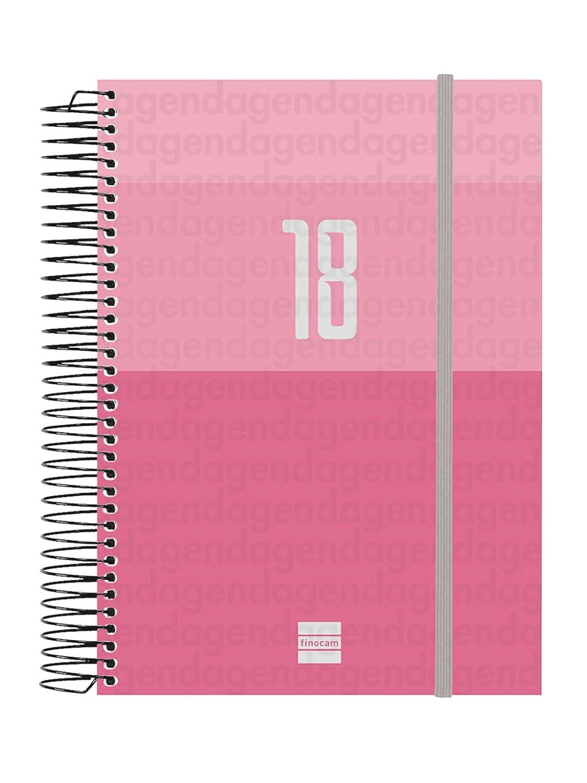 Finocam Espiral Year - Agenda 2018, día página, catalán, 117 x 181 mm, 70 g/m², color rosa