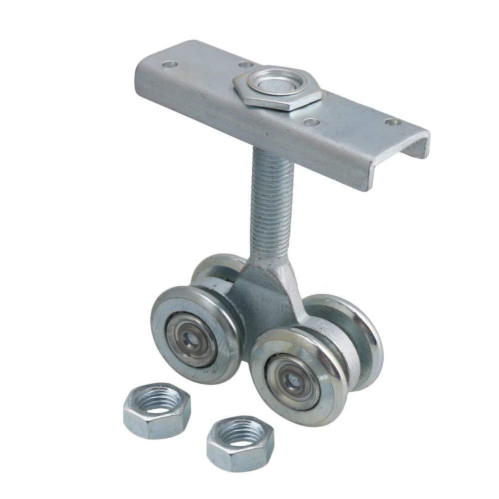 Dia 54mm Steel Double Wheel Rail Hanging Trolley Silver Sliding Track Roller Hanging Barn Door Rail Trolley Wheel H5 w/Nuts by Happynest Box Rail Hangers (Image #8)