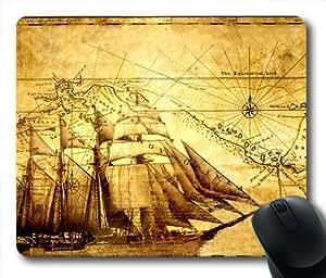 Pirate Ship Sailing Map Oblong Shaped Mouse Mat