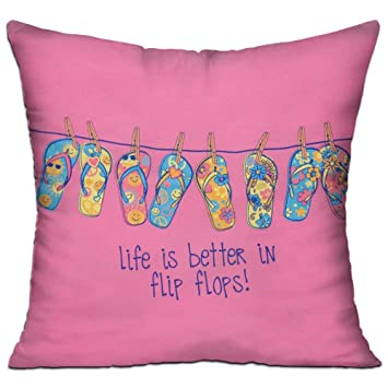 GRUNVGT Cushion Cover Pillow Cover Life Is Better In FlipFlops Beauteous Customized Pillow Covers