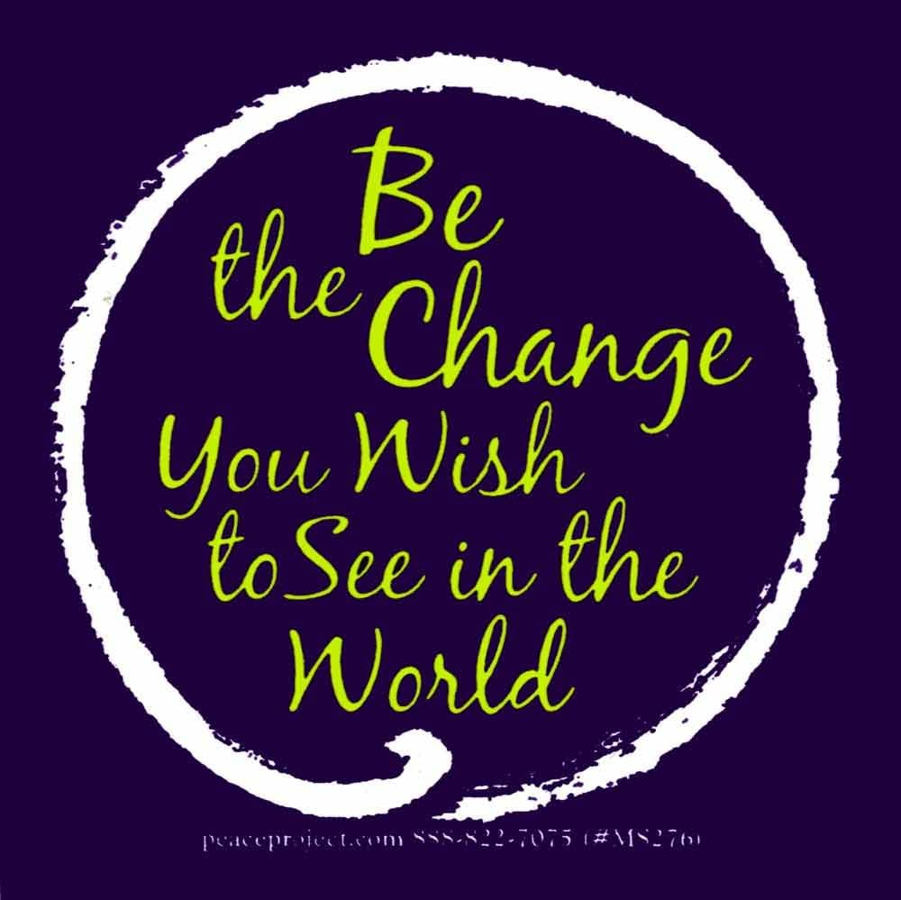 "Peace Resource Project Be The Change You Wish to See in The World - Magnetic Bumper Sticker/Decal Magnet (3.25"" X 3.25"")"