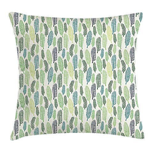 Leaf Throw Pillow Cushion Cover, Doodle Style Leaves Freshness of The Spring Season Theme Palm Tree Foliage Art, Decorative Square Accent Pillow Case, 18 X 18 inches, Blue Green Cream (Springs Patio Palm Cushions Custom)