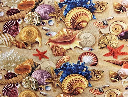 Seashells Window Windows - Beach Beautiful Sea Shells and Sand Valance Sale Cotton Window Curtain Treatment 43