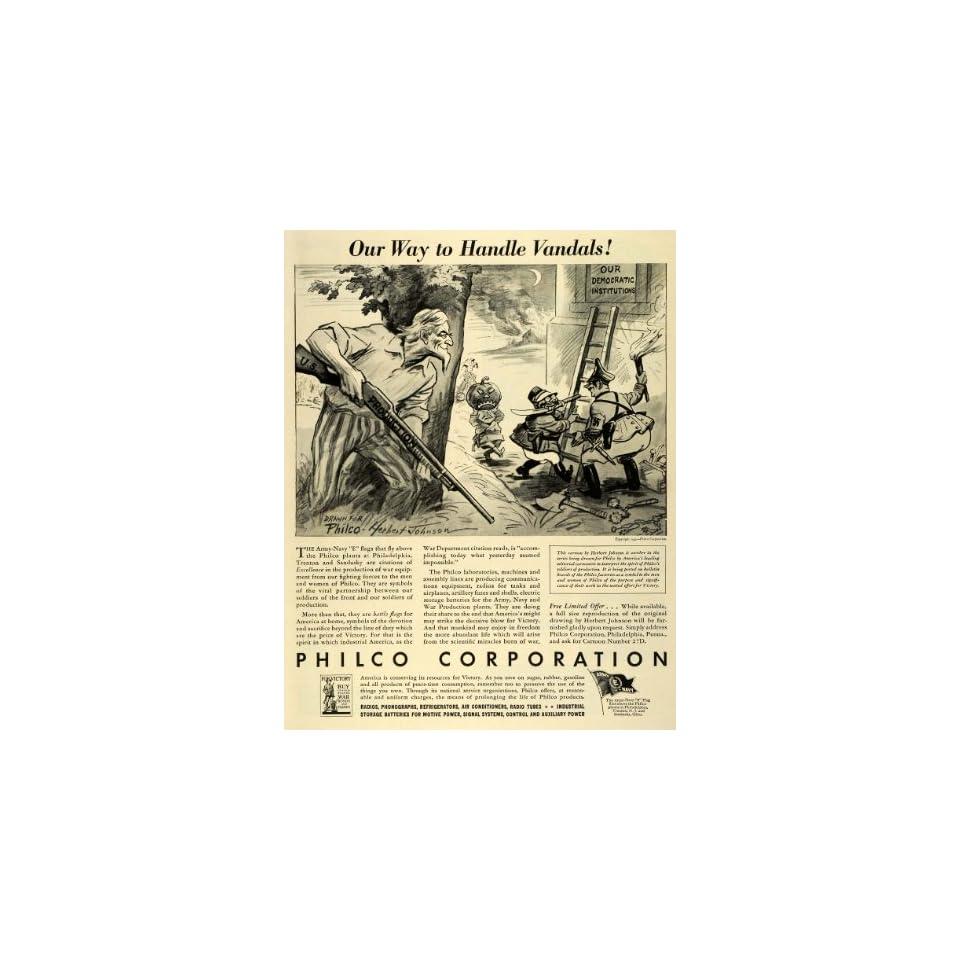 1942 Ad Philco WWII War Production Army Navy Vandals Herbert Johnson Cartoon Art   Original Print Ad