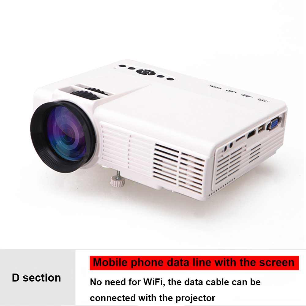 プロジェクター家庭用ミニHD家庭ポータブルプロジェクター電話ワイヤレスWiFiシアター ( Color : 白, Edition : D ) B07DGG55ZW