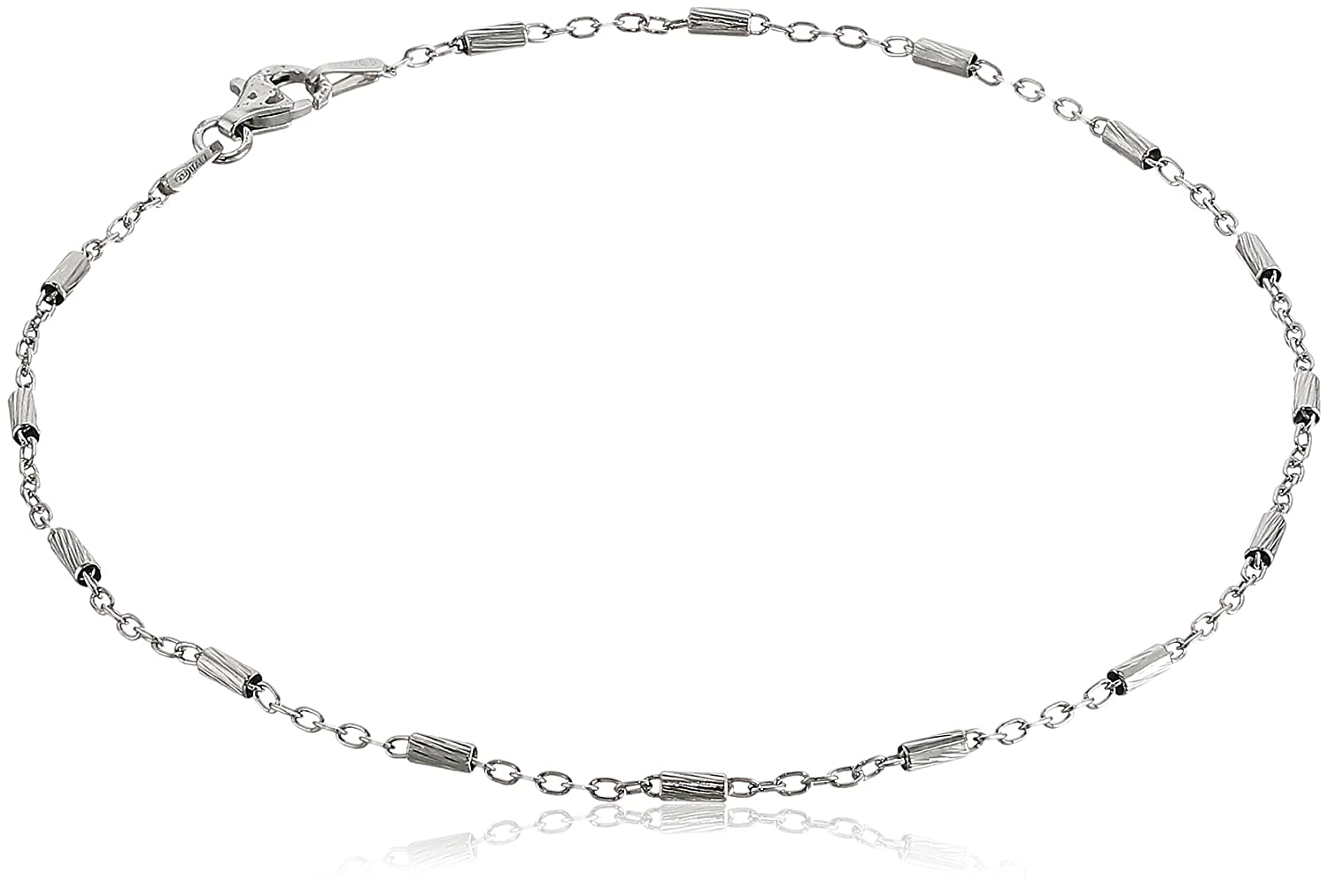 Sterling Silver Italian Diamond Cut Bar Station Anklet, 10 10 CLDC0401CM - 10