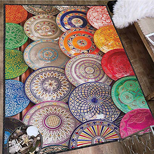 Moroccan Super Soft & Cozy Rugs,Traditional Arabic Handcrafted Colorful Plates Shot at The Market in Marrakesh Suitable for Home Decor Multicolor 63