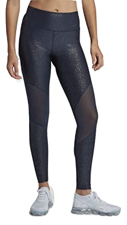 3f7850525fecf4 Nike Women's Power Women's Victory Sparkle Mid-Rise Training Tights  (Obsidian/Black,