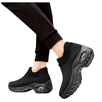 YiYLunneo Women Sneakers Comfort Slip On Wedges Shoes Breathable Mesh Sock Walking Shoes Platform Lazy Shoes Nurse Shoes: Clothing