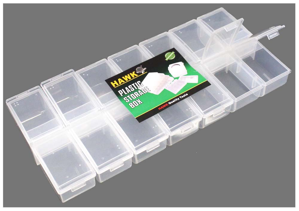 Stow-away 14 Compartment Plastic Storage Box HAWK