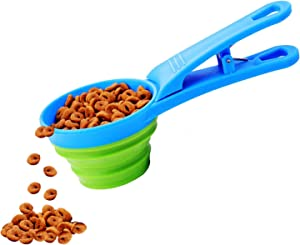 IXIGER Foldable Dog Food Spoon Silicone Pet Bowl Foldable Food Spoon Sealable Clip Dog Food Measuring Cup for Cat and Dog Capacity 118ML