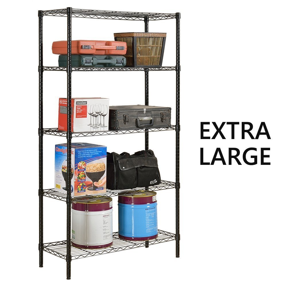 JS HOME 5-Tier Wire Shelving Unit Heavy Duty Storage Organizer, Black