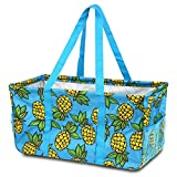 utility tote extra large - Zodaca All Purpose Wireframe Utility Tote Bag, Open Top Collapsible Pattern Grocery Shopping Organizer, Pineapple