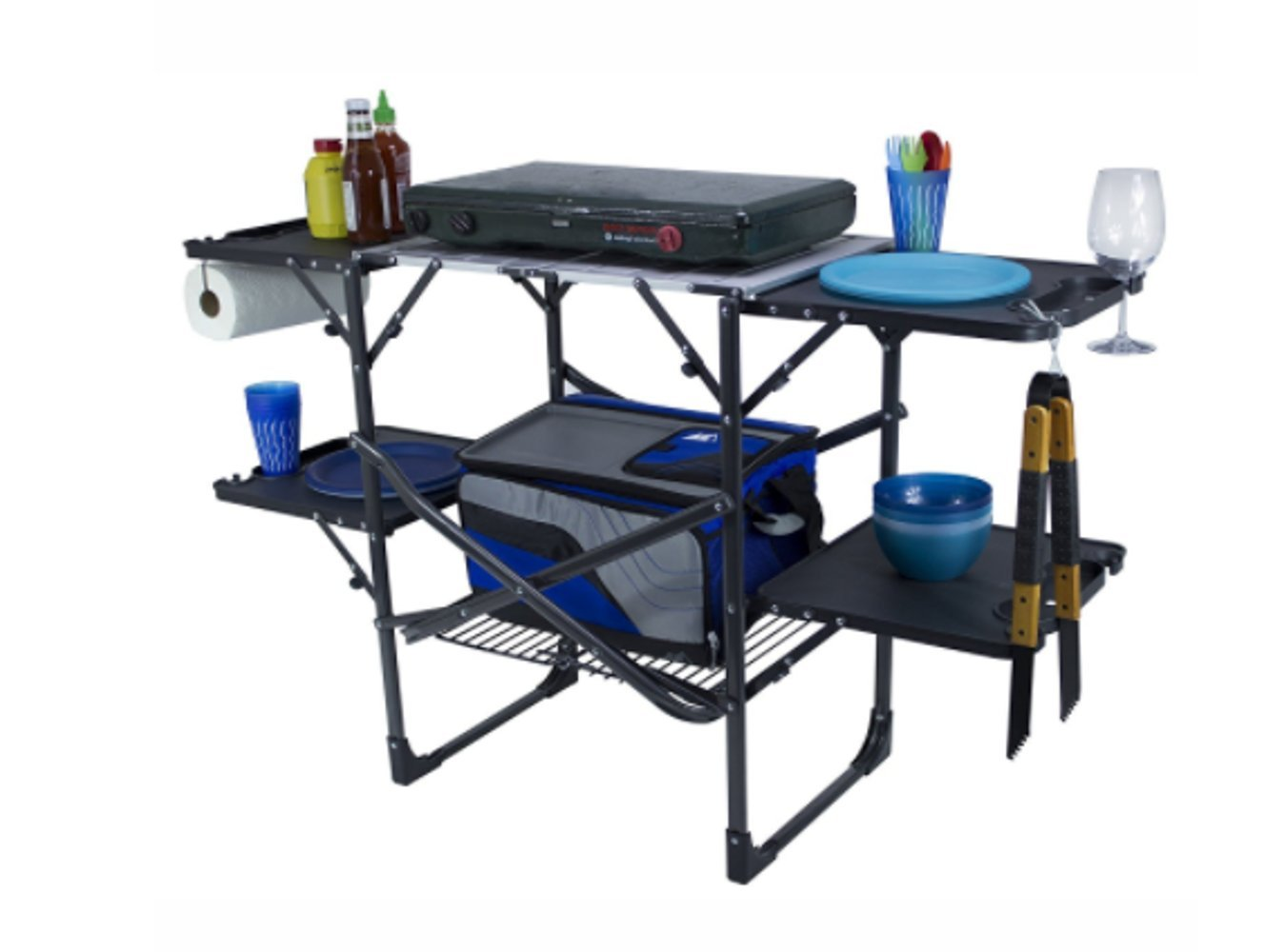Portable Prep Station, Good Quality Material, Steel Surface, Lightweight, Easy Transportation, Stylish Design, Easy Assembly, Ideal For Outdoor Spaces, Sturdy And Durable Construction & E-Book