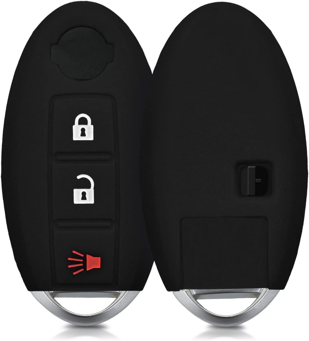 Silicone Protective Key Fob Cover Black kwmobile Car Key Cover Compatible with Nissan 3 Button Car Key