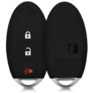 kwmobile Funda de Silicona para Llave de 3 Botones para Coche Nissan - Carcasa Protectora Suave de Silicona - Case Mando de Auto Negro
