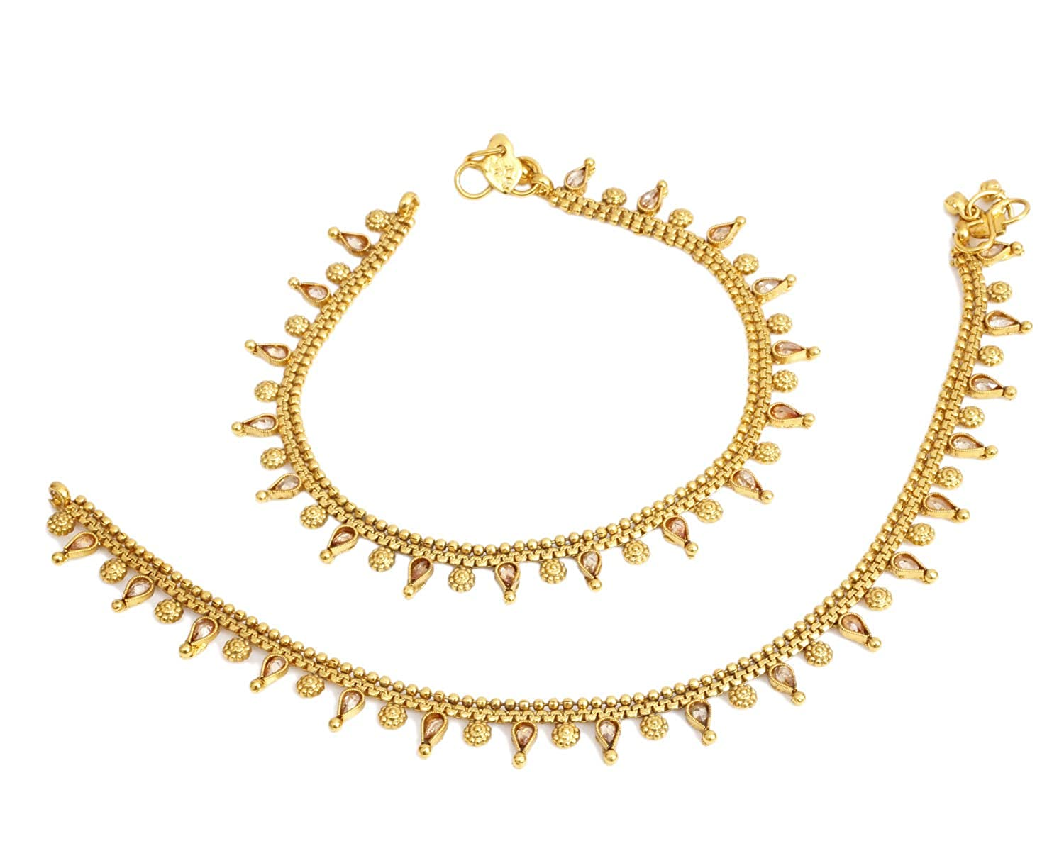 Ratna creation New Indian Polki 18k Gold Plated Crystal Payal Anklet Jewelry Women Wedding Costume PL-21