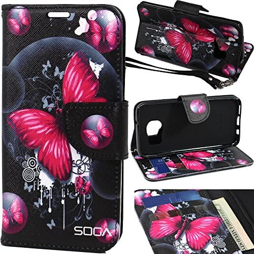 Galaxy S8 Plus Case, SOGA [Pocketbook Series] PU Leather Magnetic Flip Design Wallet Case for Samsung Galaxy S8 Plus - Pink Butterfly Sales