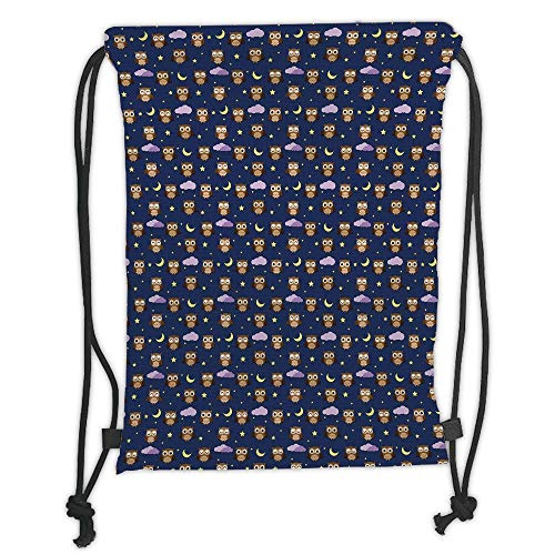 New Fashion Gym Drawstring Backpacks Bags,Owls,Cartoon Birds at Night Sky Elements Stars and Crescent Moons Purple Clouds Bedtime Decorative,Multicolor Soft Satin,Adjustable Strin]()