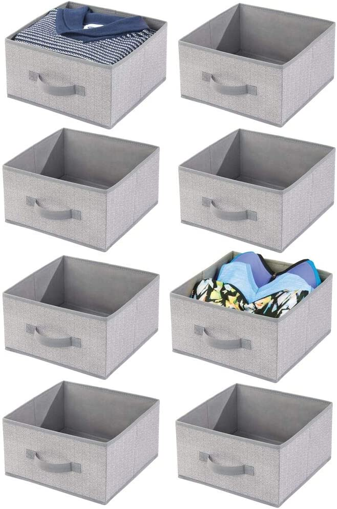 mDesign Soft Fabric Modular Closet Organizer Box with Front Pull Handle for Closet, Bedroom, Bathroom, Home Office, Shelves to Hold Clothing, Bedding, Accessories - Herringbone Print, 8 Pack - Gray