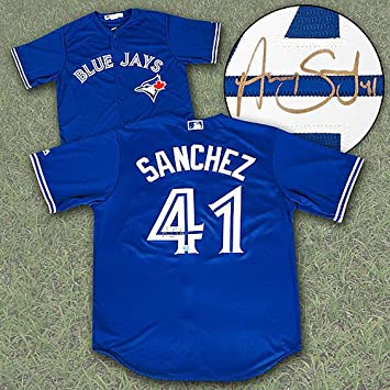 brand new 412d5 a39d9 Aaron Sanchez Toronto Blue Jays Autographed Replica MLB ...