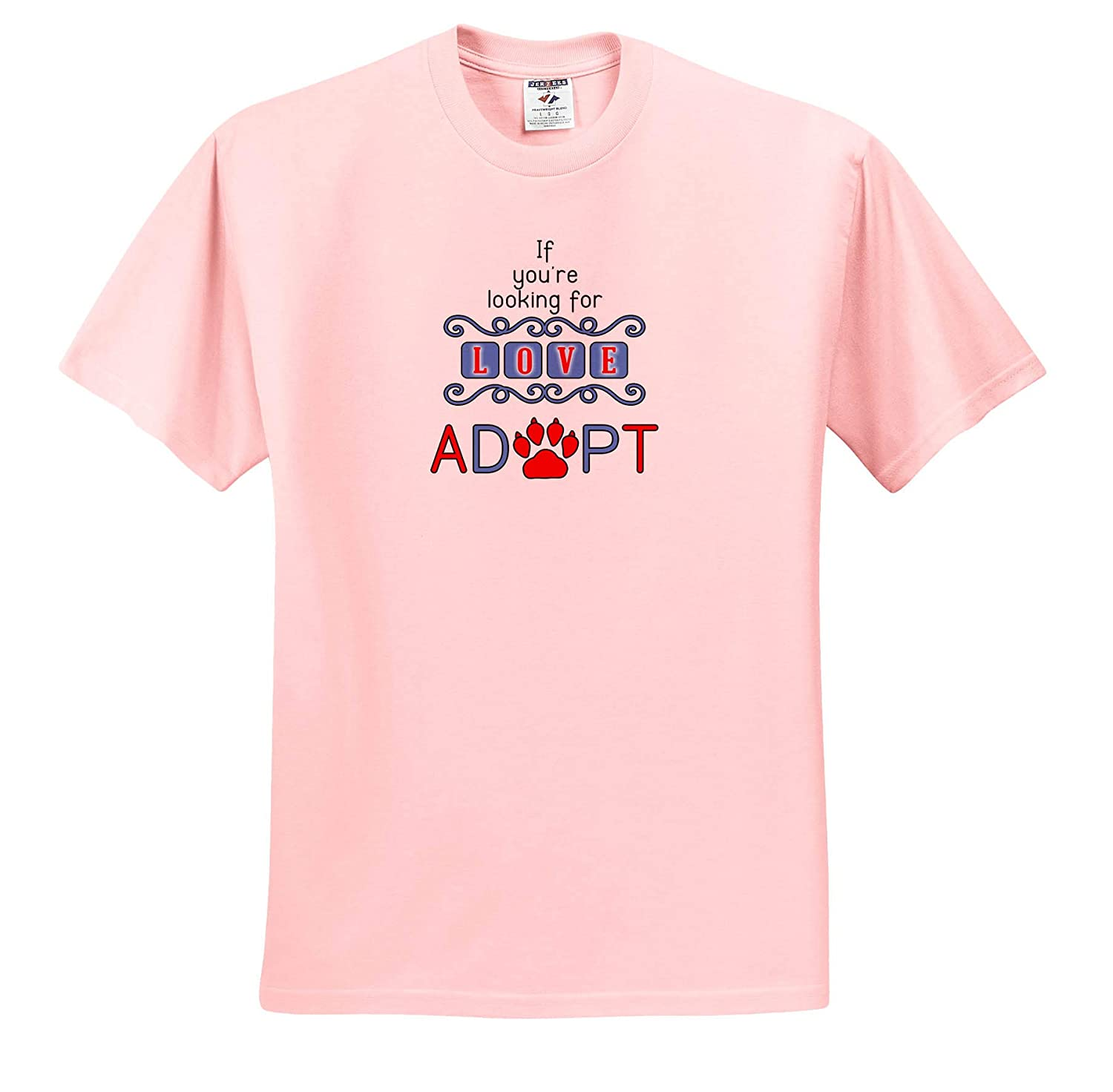 ts/_310183 If Youre Looking for Love Adopt Pet Love Red Blue and White Adult T-Shirt XL 3dRose Doreen Erhardt Dogs