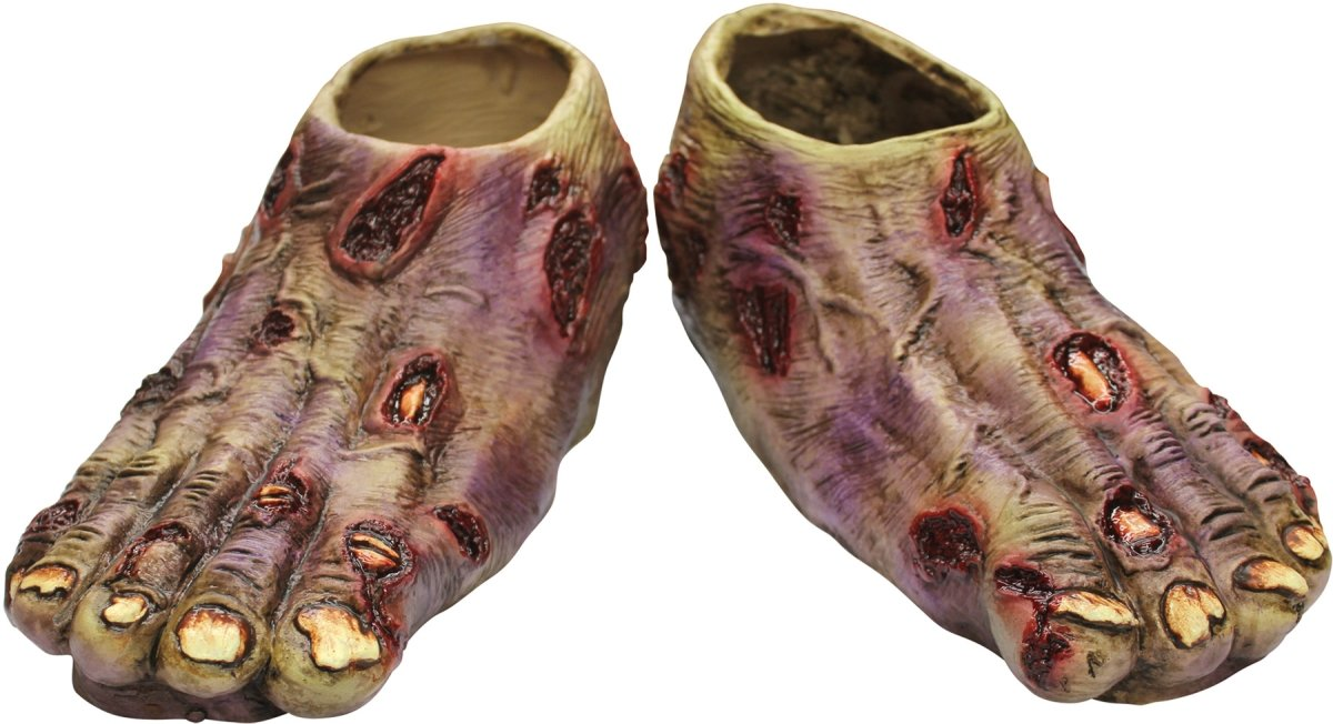 Ghoulish Productions Undead Zombie Feet Shoe Covers, Red / Beige, One-size