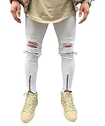 ca1b71a202b8f MINASAN Mens Ripped Slimfit Skinny Jeans Stretch Denim Distress Frayed  Biker Jeans Boys  Amazon.co.uk  Clothing