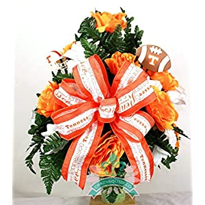 Tennessee Volunteer Fan Cemetery Vase Arrangement featuring Orange, White Roses 23