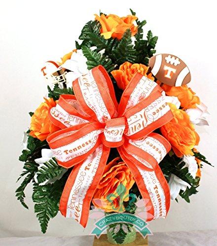 Tennessee Volunteer Fan Cemetery Vase Arrangement featuring Orange, White Roses by Crazyboutdeco Deco Mesh Wreaths,Cemetery Arrangements (Image #1)