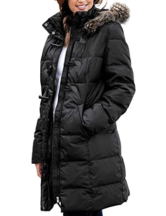 e9ac3690f744e Lookbook Store Women s Faux Fur Hooded Pockets Quilted Warm Puffer Jacket  Coat Black Size X-Large (Fits US 16-18) at Amazon Women s Coats Shop
