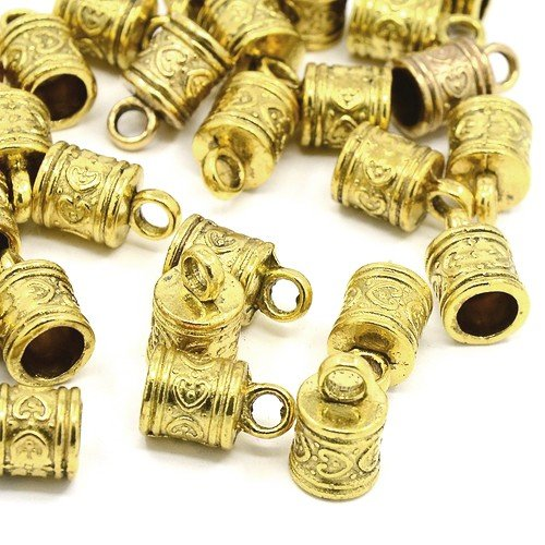 Pack of 10 x Antique Gold Tibetan 10 x 16mm Kumihimo Patterned End Caps - (HA12055) - Charming Beads (Gold End Caps)