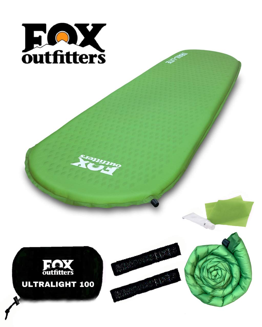 Fox Outfitters Ultralight Series Self Inflating Camp Pad - Perfect Foam Sleeping Pads for Camping, Backpacking, Hiking, Hammocks, Tents (Regular) by Fox Outfitters