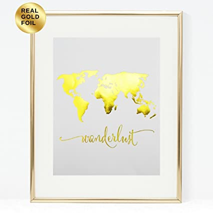 Amazon wanderlust world map gold foil art print travel world wanderlust world map gold foil art print travel world traveller poster modern art contemporary metallic wall gumiabroncs Images