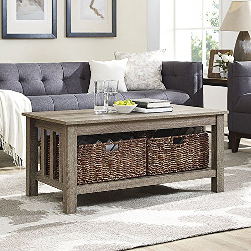 WE Furniture 40″ Wood Storage Coffee Table with Totes – Driftwood