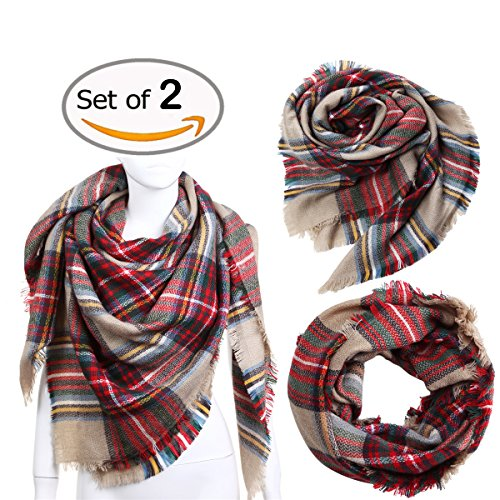 Vesfashion 2pcs Scarf Plaid&Tartan Infinity Scarf for Women Classic Large Blanket Scarf Stylish Gorgeous Wrap Shawl Soft Shawl