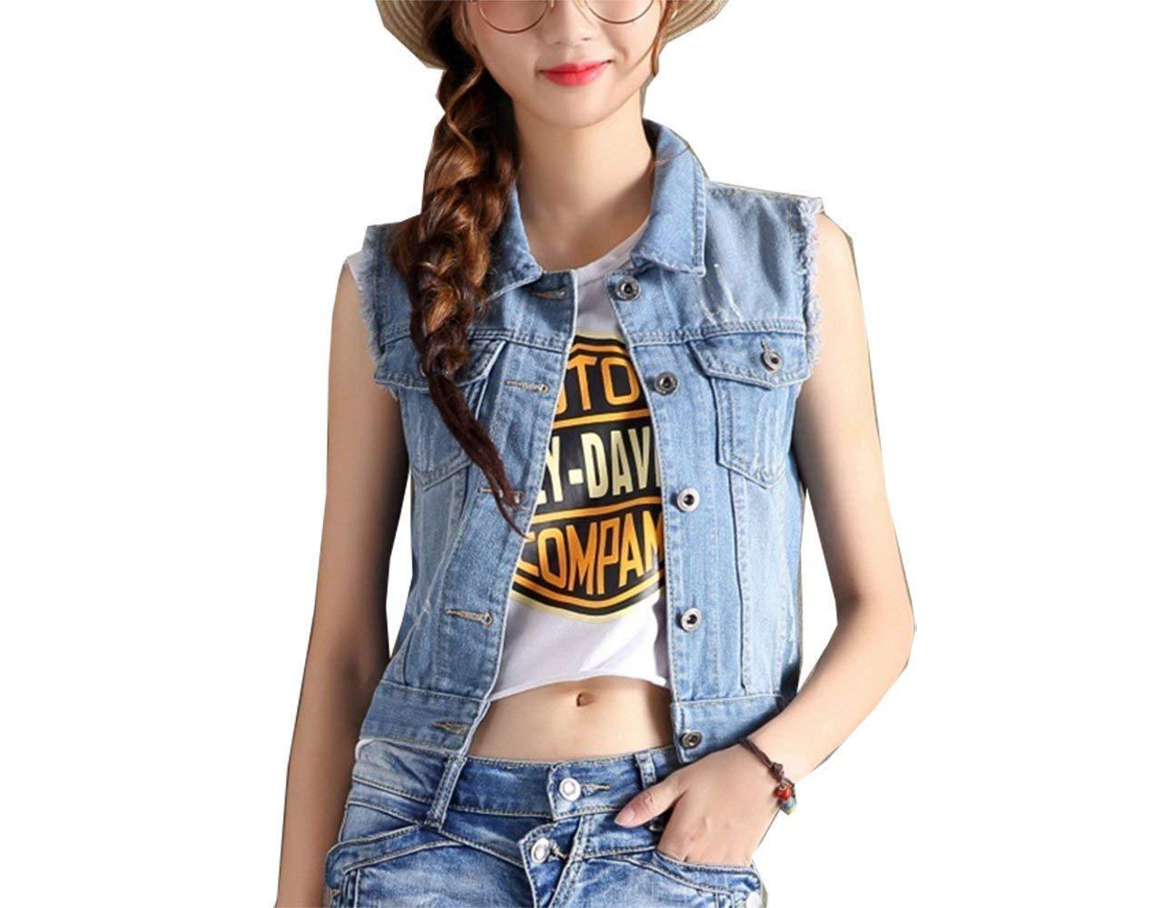 Donna Gilet Jeans Smanicato Slim Fit Strappato Jeans Jacket Eleganti Vintage Fashion Casuale Cute Chic Denim Cappotto Corto Outerwear Primaverile Autunno None