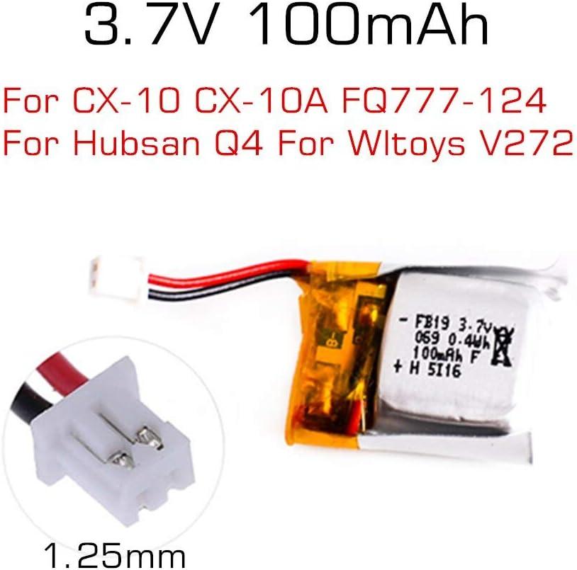 3.7V 100mAh Lipo Battery For Cheerson CX-10 CX-10A FQ777-124 Wltoys 10pcs New