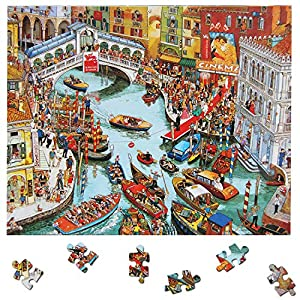 Jigsaw Puzzle 1000 Pieces Large Puzzles Venice City View Puzzle Game Artwork for Adult Teens Italy Landscape Puzzles…