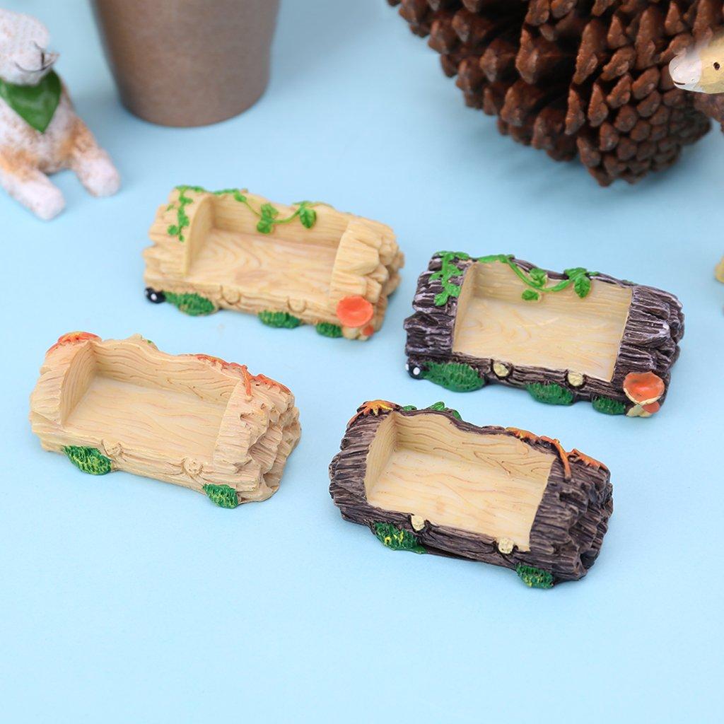 Lunji Banc Résine - Miniature Ornement Fée Jardin - Décoration de Table/Noël (Brun foncé A)