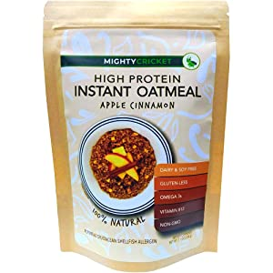 6 PACK Apple Cinnamon Protein Oatmeal by Mighty Cricket   Instant Organic Oats   4 Servings   Made with Cricket Protein Powder